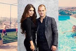 Evlerinde halı saha da yüzme havuzu da var! İşte Sneijder ve Yenge'nin evi!
