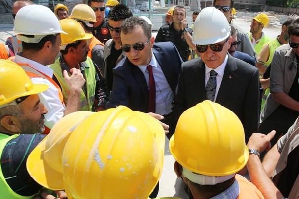 Cumhurbaşkanı Erdoğan Ankara Camii inşaatında!