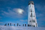 Van'da su deposu buz kulesine dönüştü