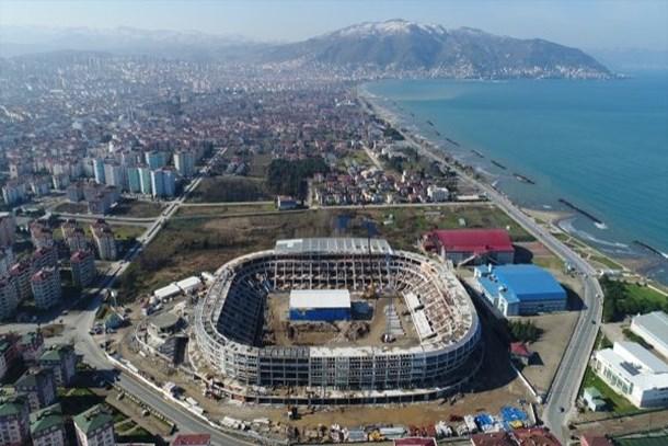Ordu'da yapılan yeni stadın kaba inşaatı tamamlandı